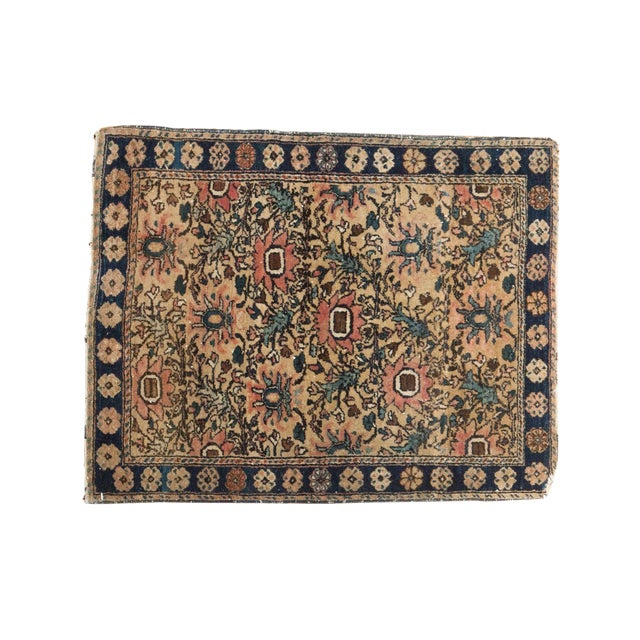 "Vintage Farahan Sarouk Square Rug Mat - 2' X 2'6"" For Sale"
