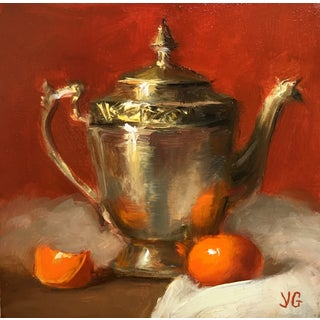 Still Life with Metal Pitcher and Tangerine For Sale