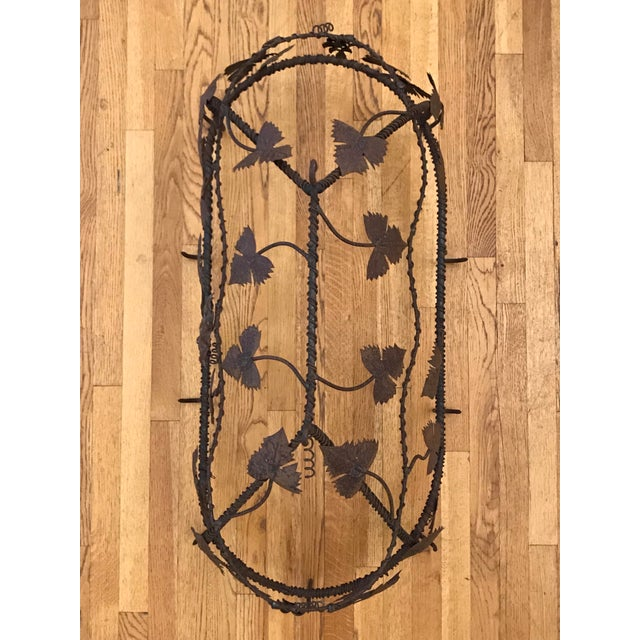 1970s Custom Crafted Enchanting Wrought Iron Grape Vine Pot Rack For Sale - Image 9 of 13