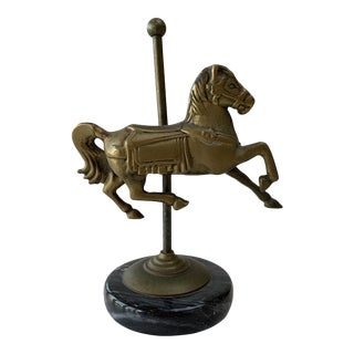 1960s Vintage Brass and Marble Carousel Horse Figurine For Sale