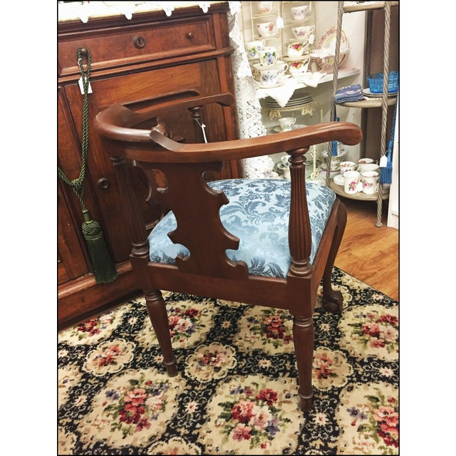 Victorian Ornate Wood Blue Corner Chair - Image 5 of 9