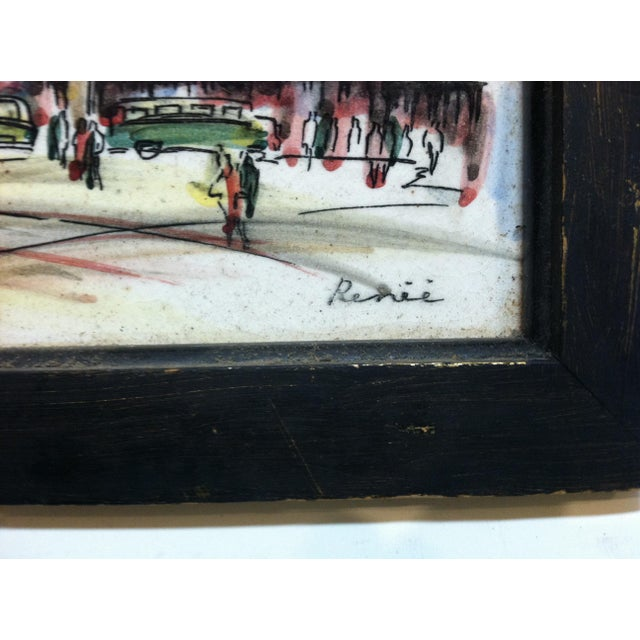 """Mid 20th Century Vintage Mid Century """"Paris - Le Moulin Rouge"""" Original Painting on Tiles by Renee' For Sale - Image 5 of 7"""