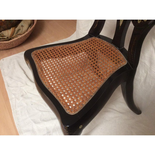 Italian Lacquered Chair With Mother of Pearl For Sale - Image 5 of 11