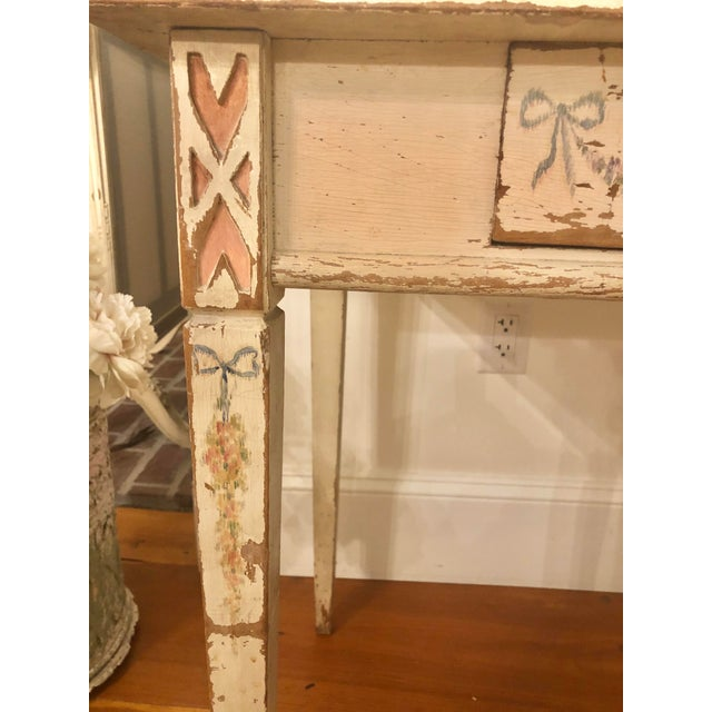1920s Antique Shabby Chic Hand Painted Floral Writing Desk For Sale - Image 5 of 11