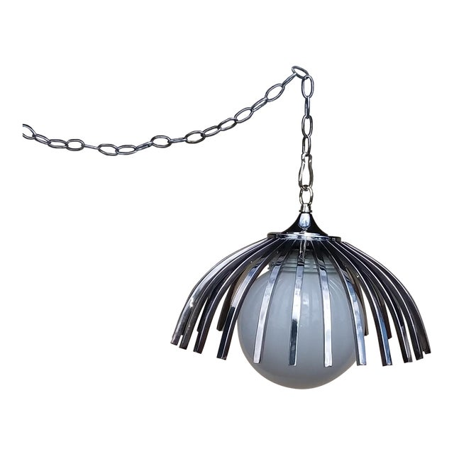 Custom Mid-Century Pendant Available With Large Globe (As Seen or Smaller Globe For Sale