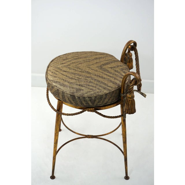 Hollywood Regency Hollywood-Regency Style, Italian Florentine Gilt-Metal Vanity Stool,1960s For Sale - Image 3 of 9