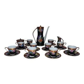 French Limoges Espresso or Demitasse Set Vieux Paris Pot Cups & Saucers For Sale