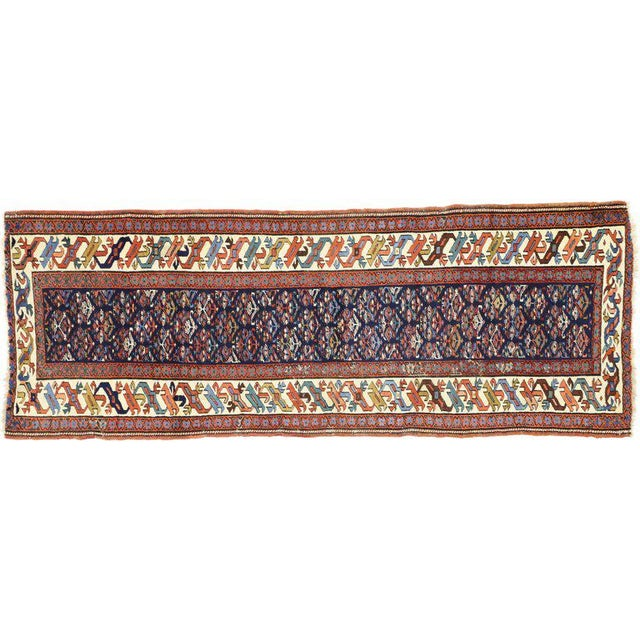 19th Century Persian Kazak Tribal Hallway Runner - 3′4″ × 8′10″ For Sale In Dallas - Image 6 of 9