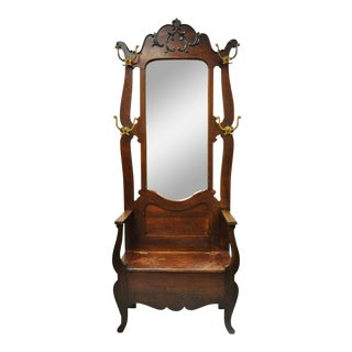 "Eastlake Victorian 83"" Carved Oak Wood Beveled Glass Mirror Coat Hook Hall Tree For Sale"