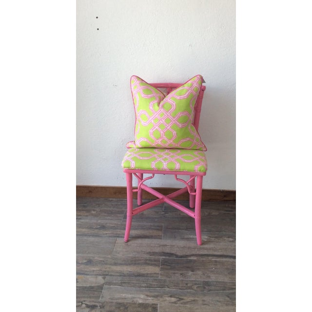 Boho Chic Vintage Ficks Reed Pink Bamboo Rattan Side Chair For Sale - Image 3 of 5