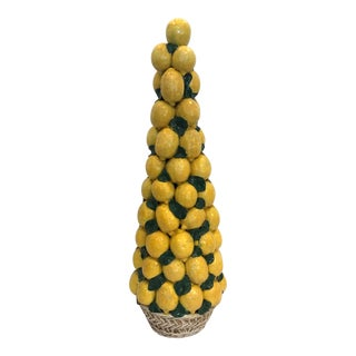 "Italian Ceramic Giant Lemon Topiary in Basket, Centerpiece, 28"" High For Sale"