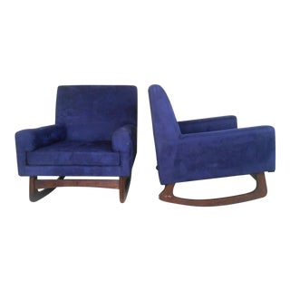 Mid-Century Modern Suede Rocking Chairs - A Pair For Sale