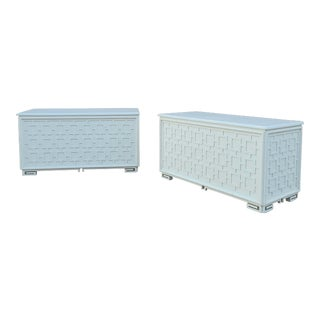 Vintage Tory Burch Style Fretwork and Faux Bamboo Chests - a Pair - on Hidden Casters For Sale