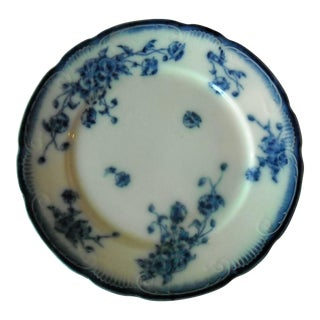 Antique Flow Blue Rose Pattern Dinner Plate