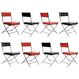 1960s Campaign Folding Chairs in the Style of Maison Jansen - Set of 8 For Sale