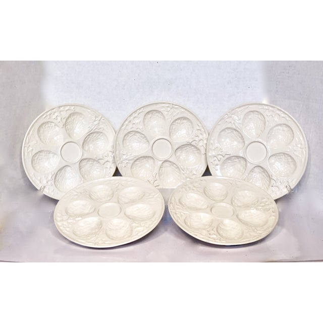 Very rare set of five cream embossed coral and seaweed oyster plates made in Czechoslovakia. These plates are in excellent...