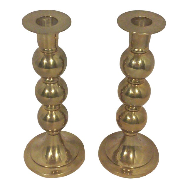 Modernist Brass Sphere Candle Holders - A Pair For Sale