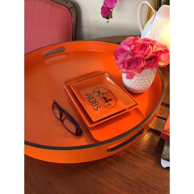 """Hermes Orange Inspired 21"""" Round Bar Serving Tray For Sale - Image 11 of 13"""