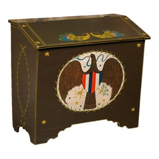 Americana Blanket Chest, circa 1900, Hand-Painted by American Folk Artist Lew Hudnall