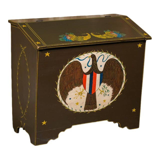 Americana Blanket Chest, circa 1900, Hand-Painted by American Folk Artist Lew Hudnall For Sale