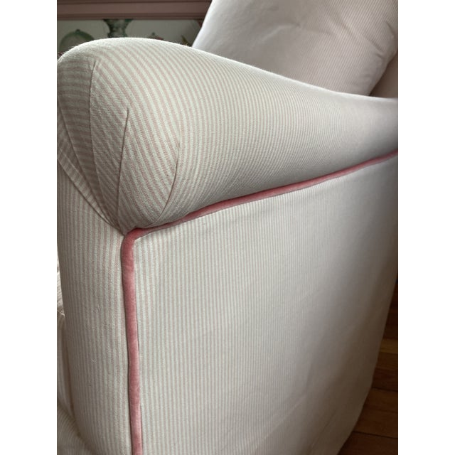 Custom Pink & White Stripe Chair & Ottoman For Sale In Philadelphia - Image 6 of 7