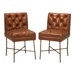 French Leather Chairs in the style of Jacques Adnet, circa 1940s For Sale