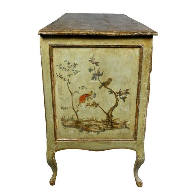 Red Italian Rococo Lacca Povera Painted Commode For Sale - Image 8 of 11