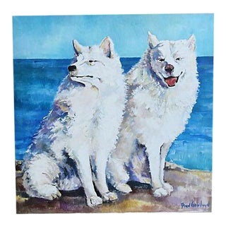 White Dogs w/ Blue Ocean Background Oil Painting
