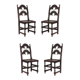 """English Charles II """"Derbyshire"""" Side Chairs - Set of 4 For Sale"""