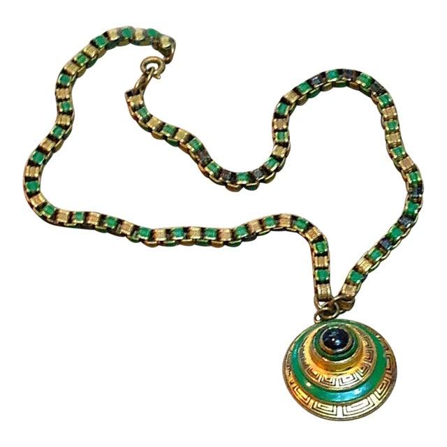 1920s Vintage Art Deco Green & Gold Enamel Necklace Pendant For Sale