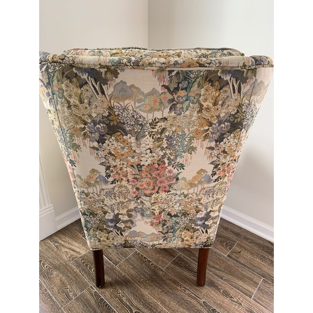 Custom Floral Wingback Chair For Sale - Image 4 of 12