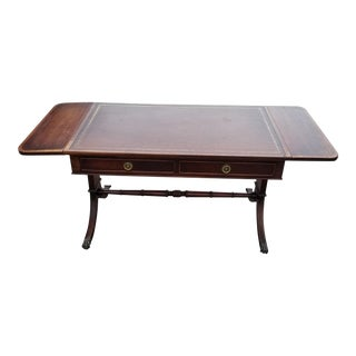 Vintage English Regency Mahogany Leather Paw-Foot Dropleaf Coffee Table For Sale