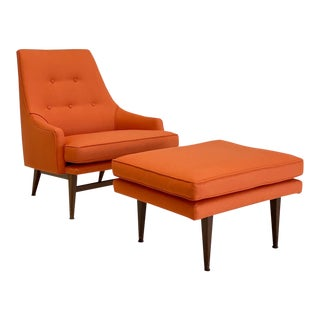 American Vintage Modern Lounge Chair and Ottoman For Sale