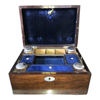 Antique English Regency Sewing Box With Secret Hidden Compartment For Sale