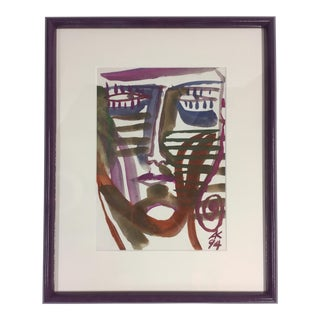 1994 A. Kotzev Abstract Male Portrait Painting For Sale