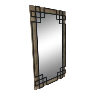 Overlay Wooden Iron Leaner Mirror For Sale