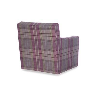 The Alec Swivel Chair is a first quality market sample that features a Plaid Lavender fabric with an Ultra Down Seat Cushion.