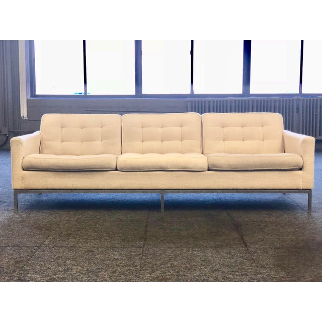 Mid-Century Modern Florence Knoll Cream Colored Wool and Chrome Three Seat Sofa - Image 7 of 7