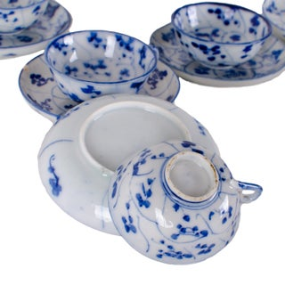 Antique Chinese Spiral Lotus Tek Sing Style Tea Cups and Saucers - Set of 8 Preview