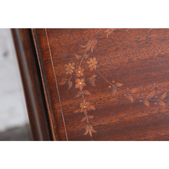 Early 20th Century French Louis XV Style Mahogany Drop-Front Secretary Desk With Mother Of Pearl Inlay For Sale - Image 5 of 13