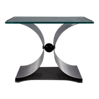A Michel Boyer Square Steel and Glass Side Table For Sale
