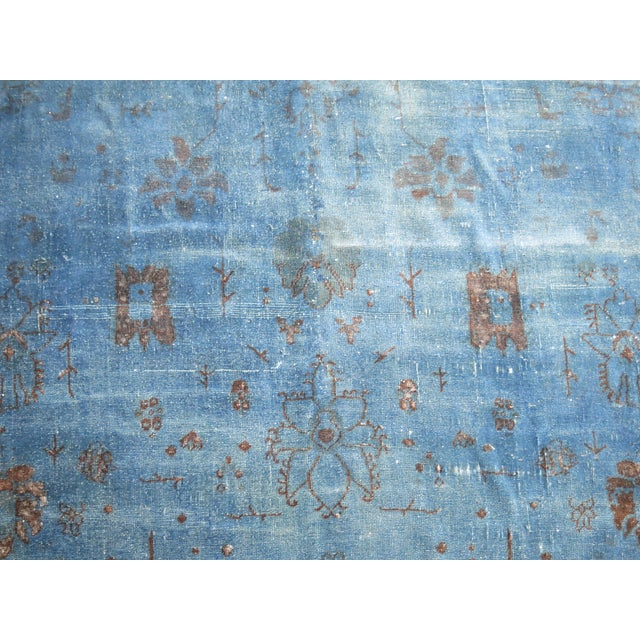"""Cobalt Blue Overdyed Vintage Rug - 6'4"""" x 10'6"""" For Sale - Image 9 of 10"""