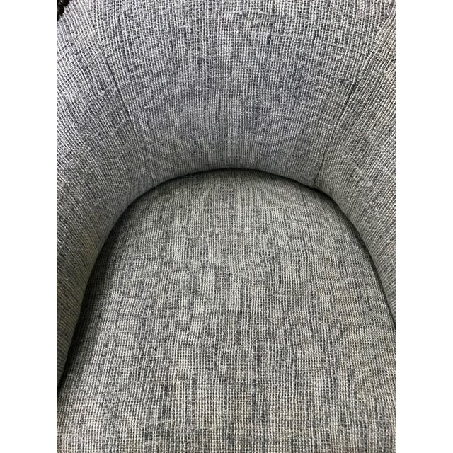 Vintage Elm Carved Bamboo Style Linen Upholstered Chairs - a Pair For Sale - Image 9 of 11