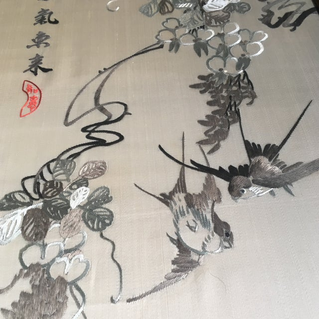 Vintage Framed Chinese Silk Embroidery - Image 5 of 11