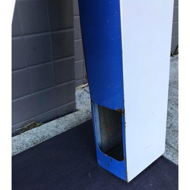 """Metal Large Vintage Blue & White Enamel """"M"""" Building Signage For Sale - Image 7 of 12"""