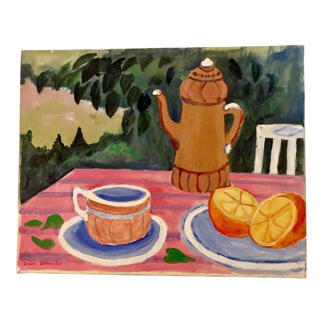 "Mid-Century Still Life ""Tea and Oranges in the Garden"" by Joan Schreder - Image 1 of 4"