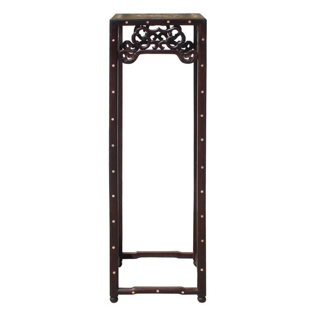 Chinese Huali Dark Brown Square Mother of Pearl Inlay Stand Pedestal Table For Sale - Image 4 of 8