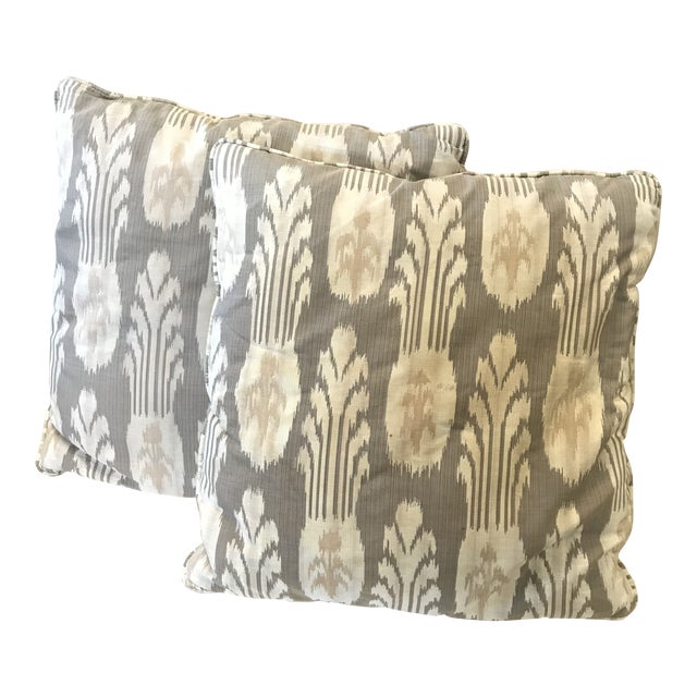 Contemporary Gray and Tan Pillows - A Pair For Sale