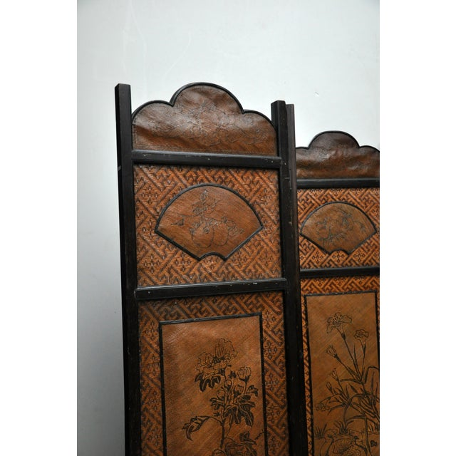 Asian Vintage Chinese Colonial 6-Fold Woven Bamboo Screen For Sale - Image 3 of 11