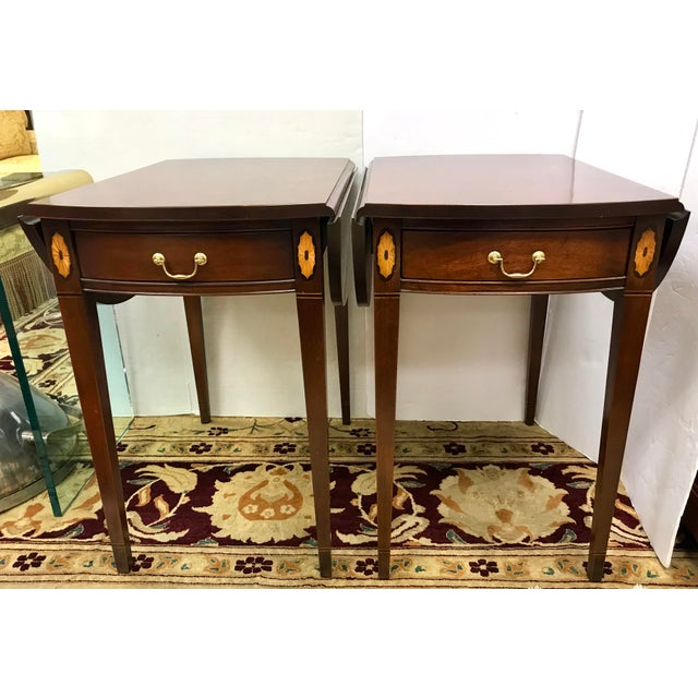 20th Century Federal Hickory Chair Mahogany Inlay Drop Leaf End Tables - a Pair For Sale - Image 10 of 10